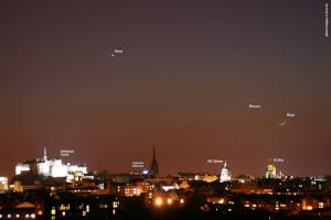 Mercury, Venus and Moon over Edinburgh