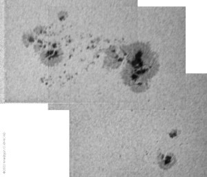 Two complex sunspot groups, granulation